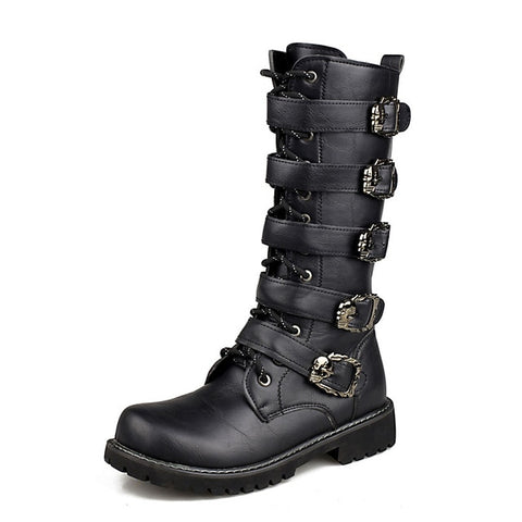 Motorcycle Boots Men Punk Martin Pu Leather Boots Motorcycle Kingdoms