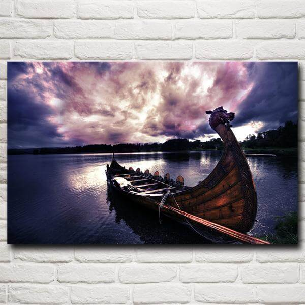 3D Viking Dragon Boat Wall Poster