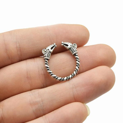 Adjustable Viking dragon ring on a models hand