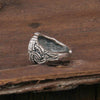 side view of the adjustable wolf paw viking ring