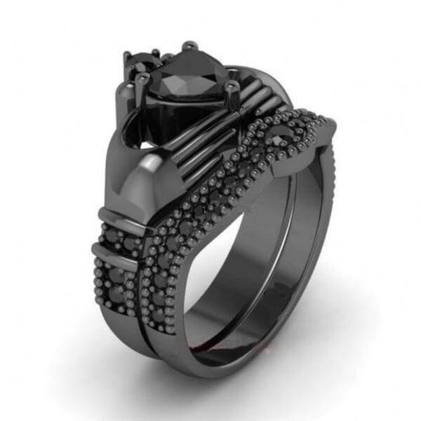 Black Birthstone Claddagh Ring