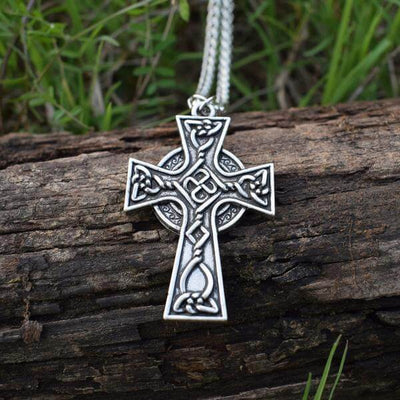 Christian Celtic Cross Necklace with silver mettalic chain