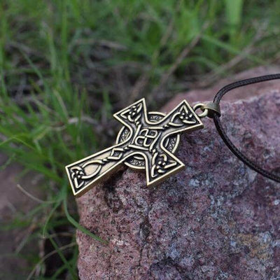 Bronze Christian Celtic Cross Necklace with a black leather chain