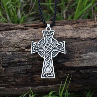 Christian Celtic Cross Necklace with a black leather chain