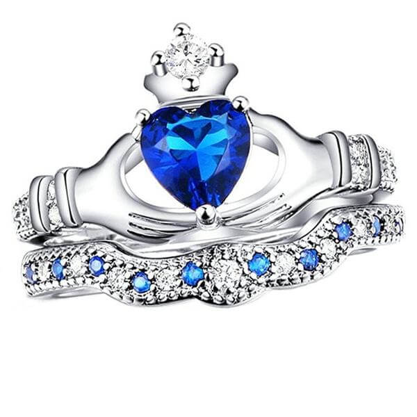 Heart-cut Crown Irish  Claddagh Ring