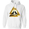 Norse Slain Warriors Valknut white Hoodie on a white background