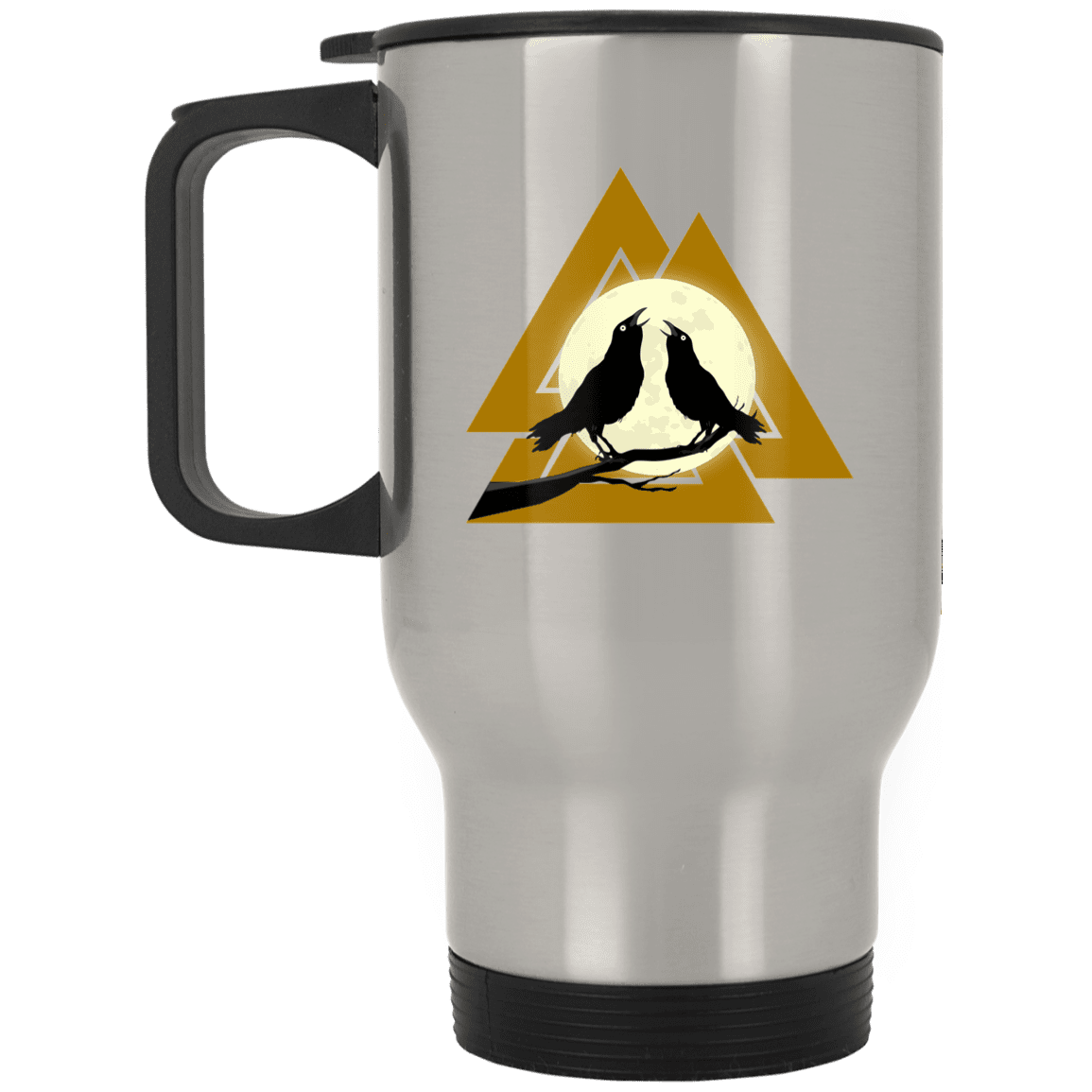Valknut Silver Stainless Travel Mug