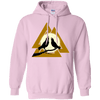 Norse Slain Warriors Valknut Light Pink Hoodie on a white background