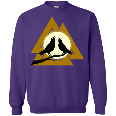 Valknut Crew Neck Purple Pullover Sweatshirt on a white background