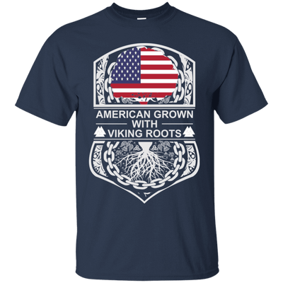 Navy American Crown Viking Roots T Shirt