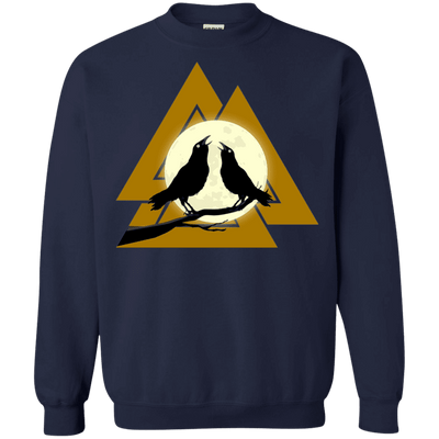 Valknut Crew Neck Navy Pullover Sweatshirt on a white background