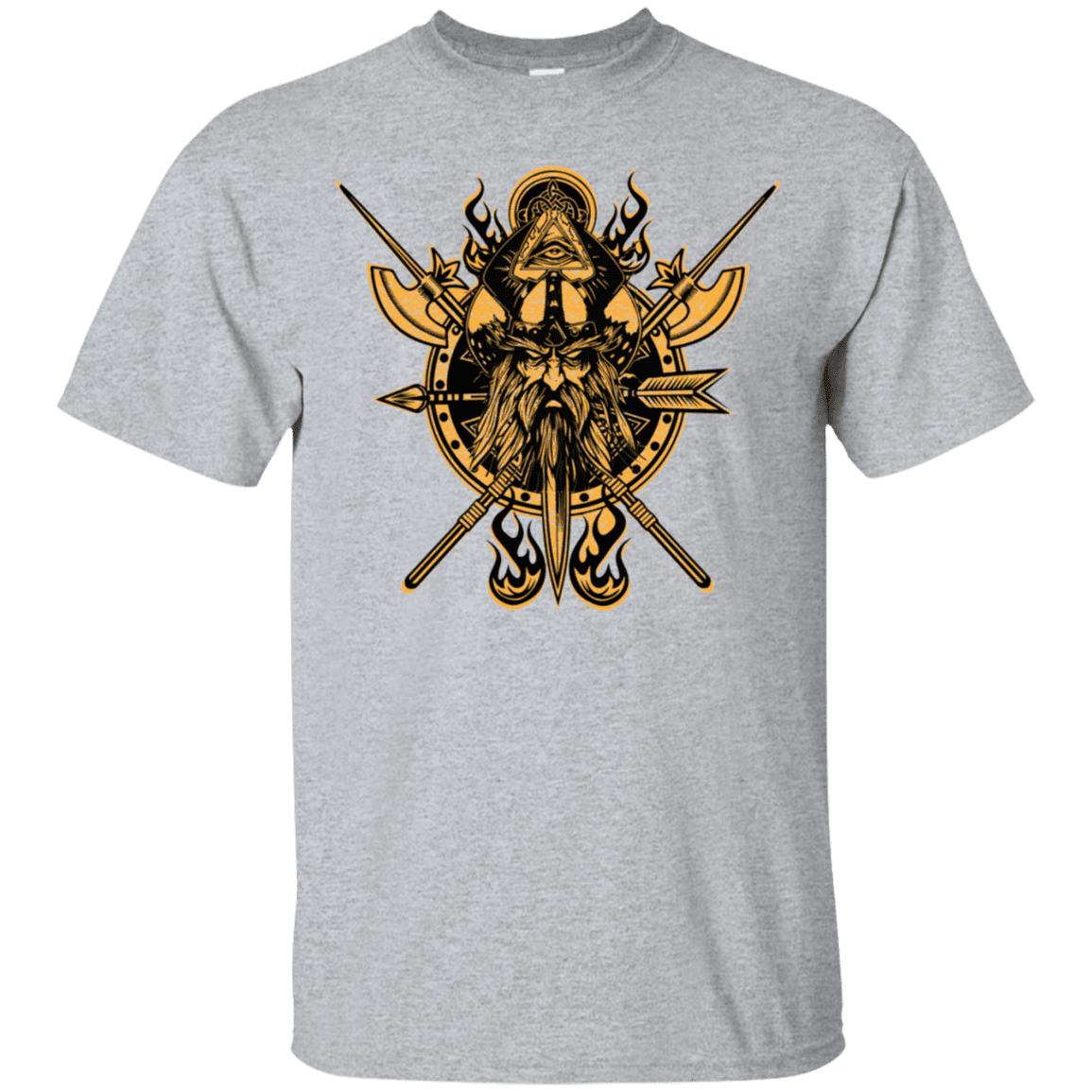 Angry viking sports grey t-shirt on a white background