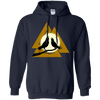 Norse Slain Warriors Valknut navy Hoodie on a white background