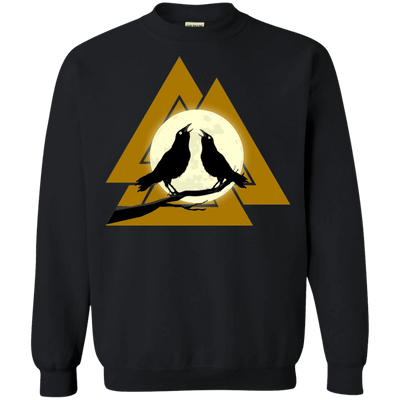 Valknut Crew Neck Black Pullover Sweatshirt on a white background