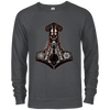 Charcoal Heather Black Mjolnir  French terry sweatshirt on a white background