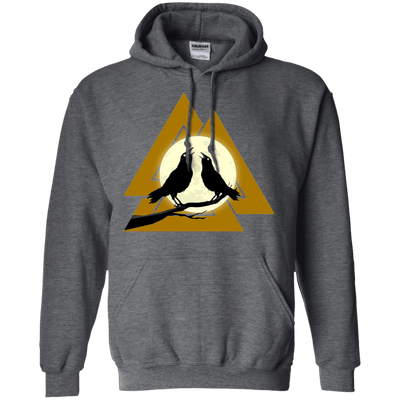 Norse Slain Warriors Valknut Dark Heather Hoodie on a white background
