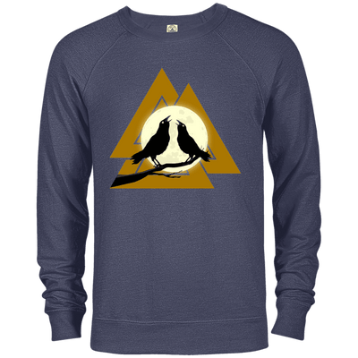 Valknut Crew Neck Denim Heather Sweatshirt on a white background