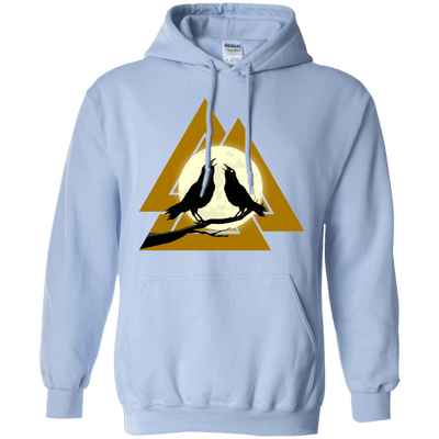 Norse Slain Warriors Valknut Light Blue Hoodie on a white background