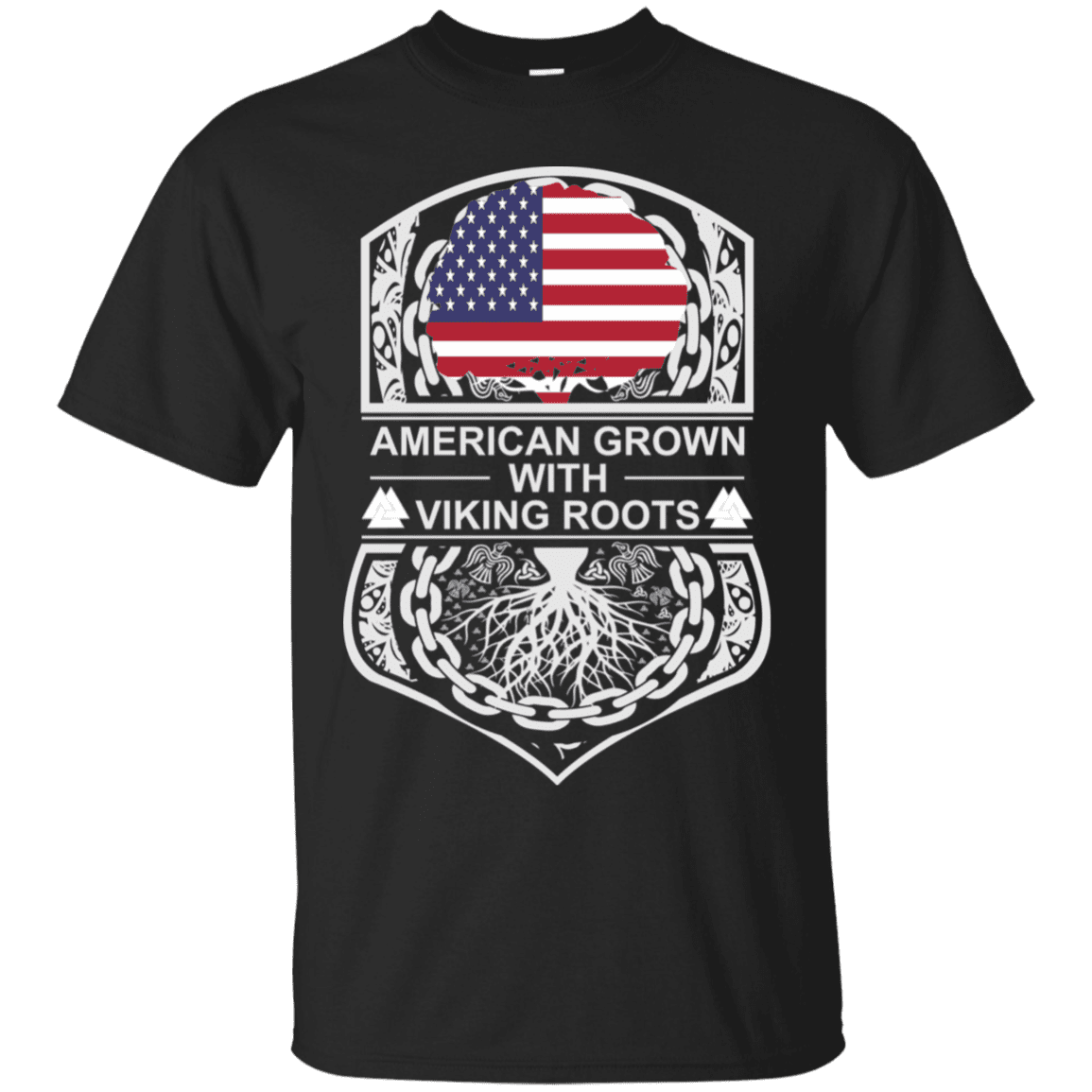 Black American Crown Viking Roots T Shirt