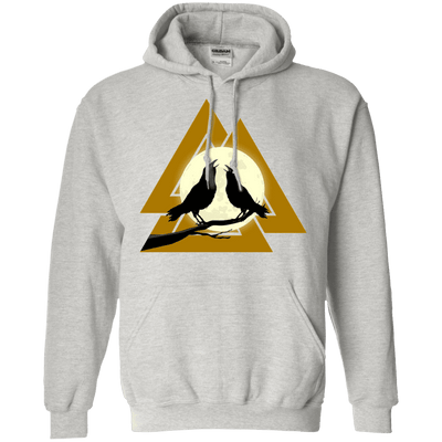 Norse Slain Warriors Valknut Ash Hoodie on a white background