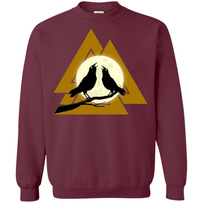 Valknut Crew Neck Maroon Pullover Sweatshirt on a white background
