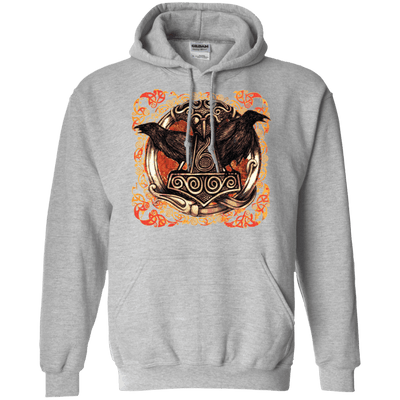 Huggin and Munnin Mjolnir Raven Sports Grey Hoodie