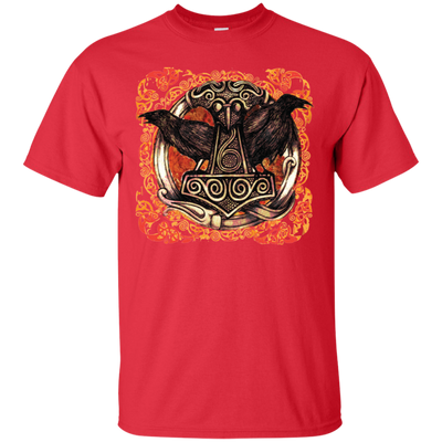 Huggin and Munnin Mjolnir Raven Red T-Shirt