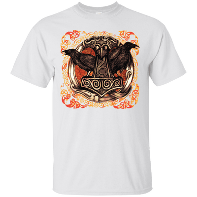 Huggin and Munnin Mjolnir Raven White T-Shirt
