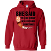 She said its either me or the mead  red pullover hoodie on a white background