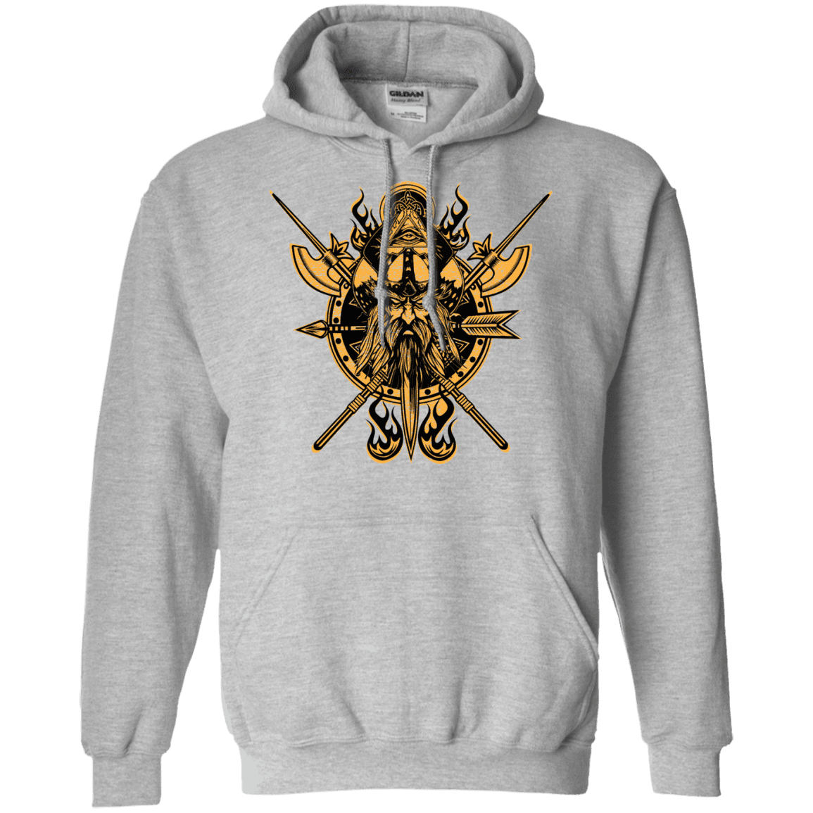 Angry viking sports grey hoodie on a white background