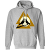 Norse Slain Warriors Valknut Sports Grey Hoodie on a white background