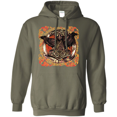 Huggin and Munnin Mjolnir Raven military green Hoodie