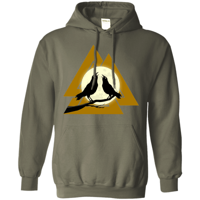 Norse Slain Warriors Valknut military green Hoodie on a white background