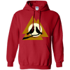 Norse Slain Warriors Valknut red Hoodie on a white background