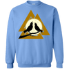 Valknut Crew Neck Carolina Blue Pullover Sweatshirt on a white background