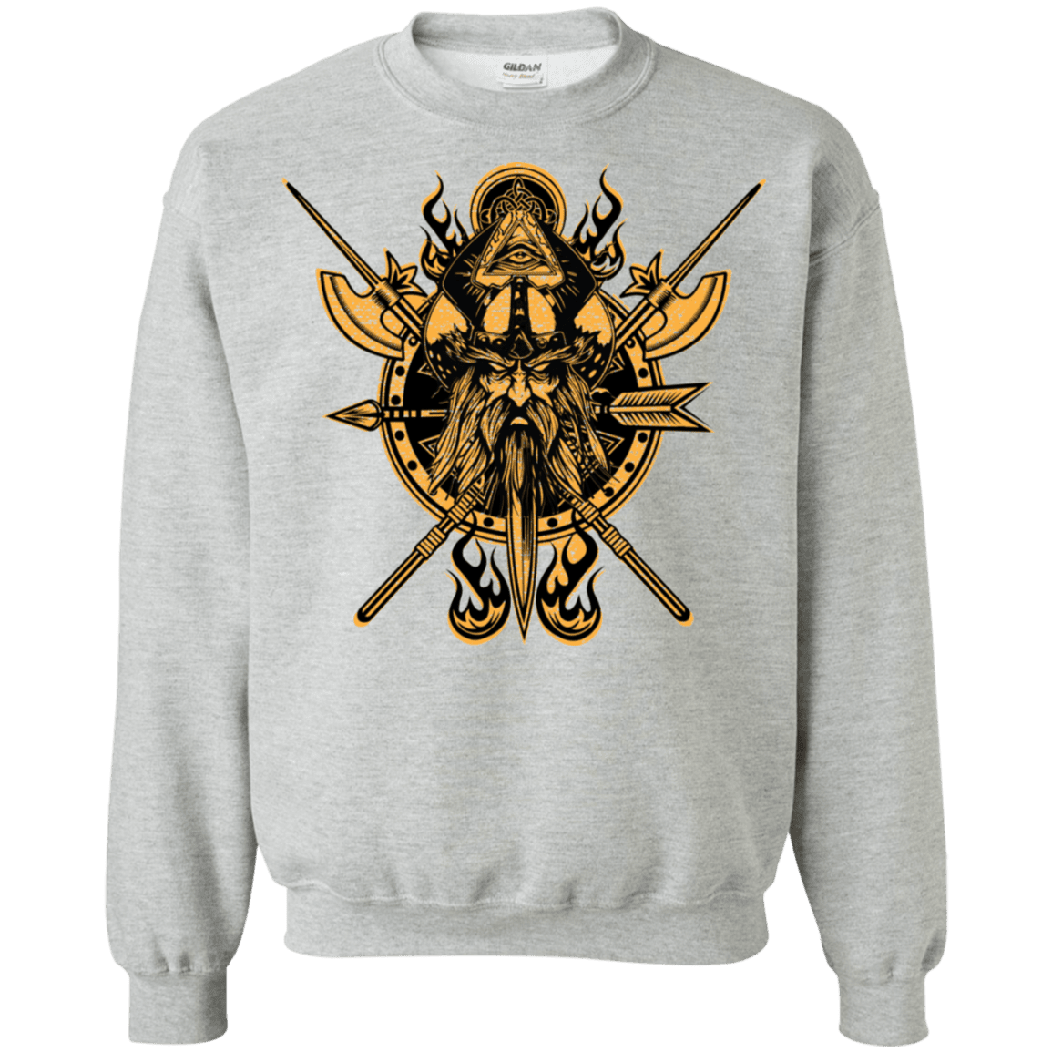 Angry viking sports grey sweatshirt on a white background