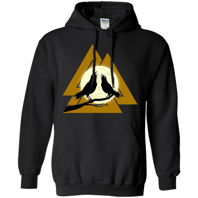 Norse Slain Warriors Valknut Black Hoodie on a white background