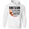 She said its either me or the mead white  pullover hoodie on a white background