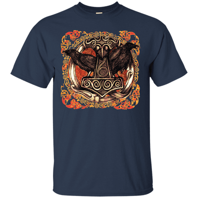 Huggin and Munnin Mjolnir Raven Navy T-Shirt