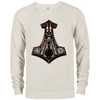 Oatmeal heather Black Mjolnir Delta French terry Sweatshirt on a white background