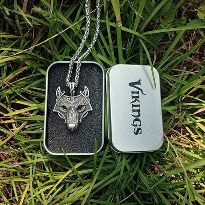 Viking Wolf Fenrir  Head Necklace