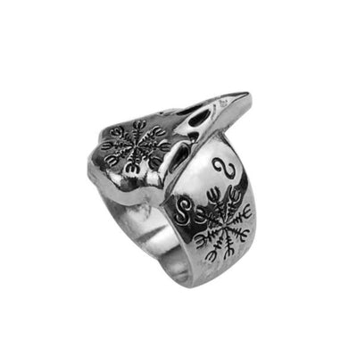Retro Vegvisir Viking silver Ring