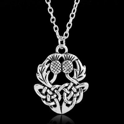 Scottish Thistle Flower Silver Necklace