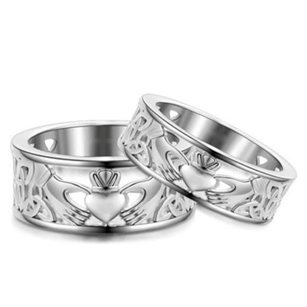 2 Silver Irish Claddagh rings