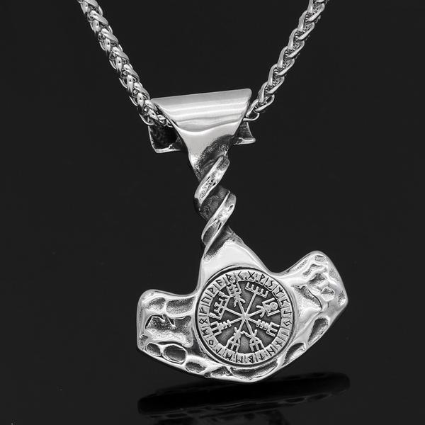 Thor hammer vegvisir  necklace
