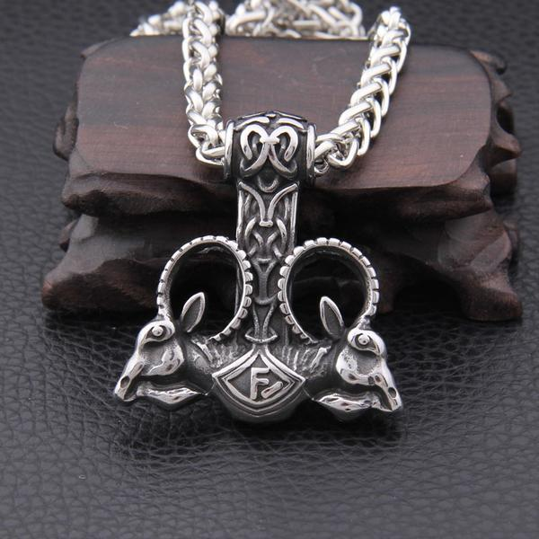 Viking Goat Mjolnir necklace