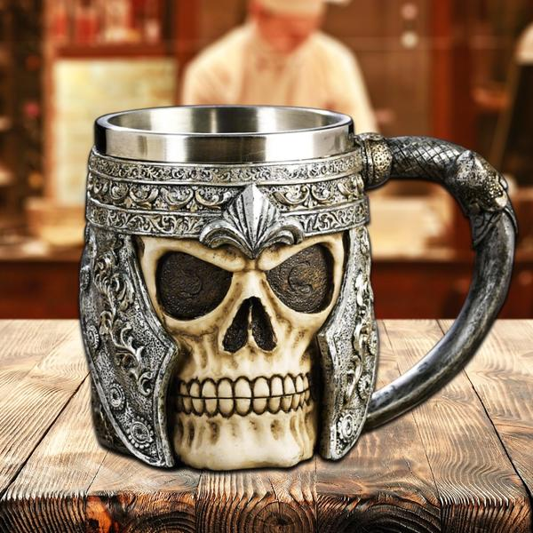 3D Viking Skull Beer and coffee  Mug on a wooden table.