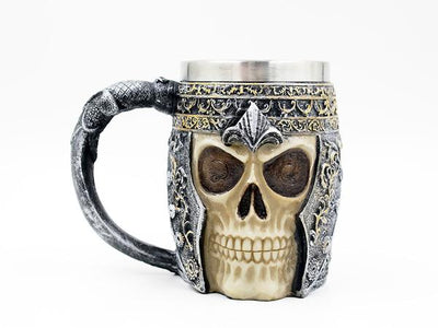 3D viking warrior skull tankard mug
