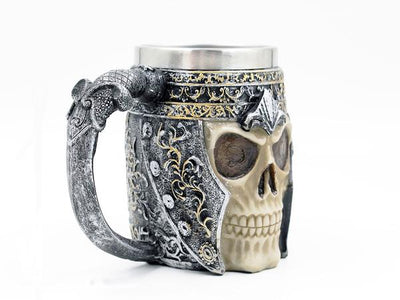 Side view of 3D viking warrior skull mug