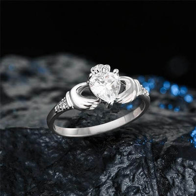 silver Claddagh Love Ring front view